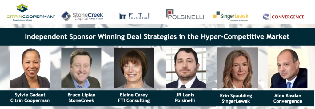 Independent Sponsors Expert Webcast Roundtable August 5 2021